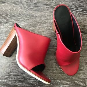 Tibi Red Bee Rubber And Leather Mules-NWOT
